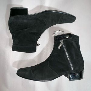 auth CHANEL black suede ANKLE BOOTS size 42 SAMPLE